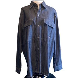 Rocawear long sleeve button down, large, blue